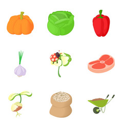 agricultural enterprise icons set cartoon style vector image