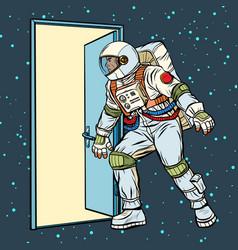 Astronaut opens door to space vector