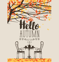 autumn landscape with furniture street cafe vector image