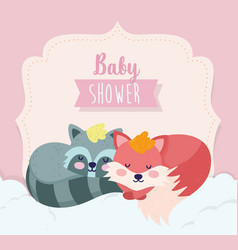 bashower cute fox and raccoon sleeping cartoon vector image