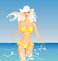 Beautiful blonde girl vector