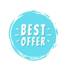 best offer text blue painted spot brush stroke vector image
