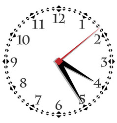 black and white clock simple fifty-six edition vector image