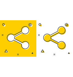 Black share icon isolated on yellow and white vector