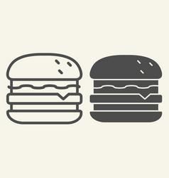 burger line and glyph icon hamburger vector image