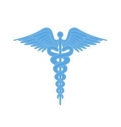 Caduceus medical symbol with two snakes and wings vector
