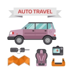 Car drive service elements concept with flat icons vector