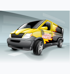 cartoon business van with yellow and black vector image