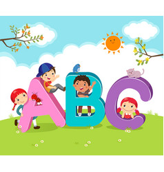 Cartoon kids with abc letters vector
