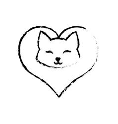 cat clossed eyes feline love sketch vector image vector image