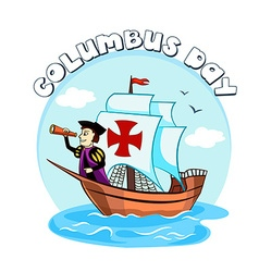 Columbus on the ship vector image