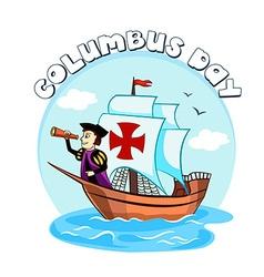 Columbus on the ship vector
