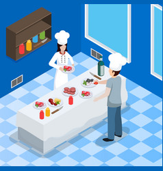 commercial kitchen interior isometric composition vector image