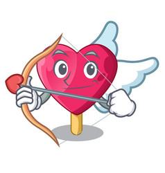 cupid chocolate heart on ice cream cartoon vector image