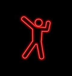 dancing man neon sign bright glowing symbol on a vector image