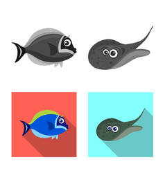 Design of sea and animal logo collection vector