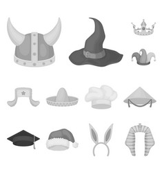 Different kinds of hats monochrome icons in set vector