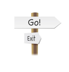 direction road signs - go and exit - arrows on vector image