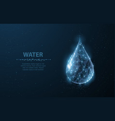 drop low poly wireframe water drop on dark blue vector image