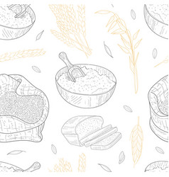 Farm food seamless pattern agricultural plants vector