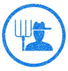 Farmer with pitchfork rounded grainy icon vector