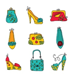 Fashion collection ladies bags and shoes vector image