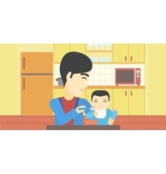 Father feeding baby vector image
