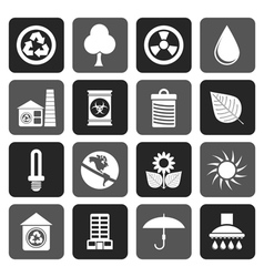 Flat Ecology and nature icons vector