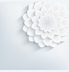 Floral abstract grey background with 3d flower vector image