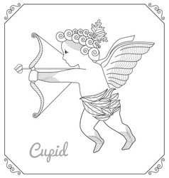 Flying Cupid With Arch Cartoon Line art vector image