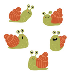 funny and cute snail in different poses in vector image
