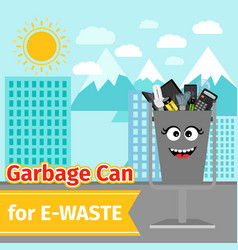 Garbage can with e-waste trash vector
