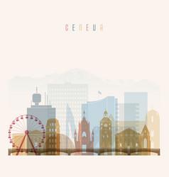geneva skyline detailed silhouette vector image