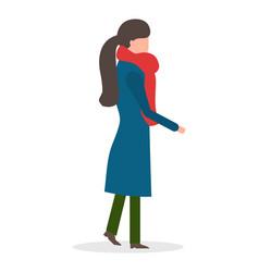 girl in coat walking frost winter season vector image