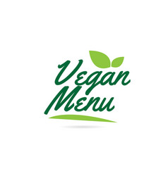 green leaf vegan menu hand written word text for vector image