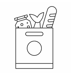 Grocery bag with food icon outline style vector