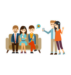 group young people sitting on sofa and using vector image