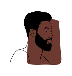 Hand draw outline portrait african black man vector