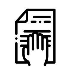 hand on document icon outline vector image