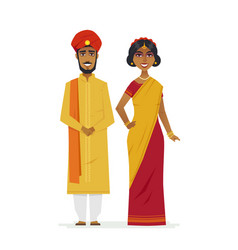Happy indian couple - cartoon people characters vector