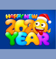 happy new year greeting with emoji vector image