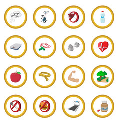Healthy lifestyle cartoon icon circle vector