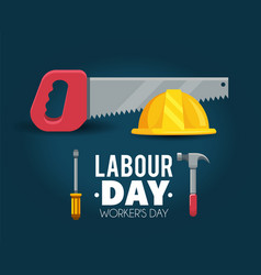 Helmet with saw to labour day celebration vector