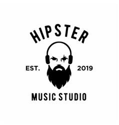 Hipster music studio logo design vector