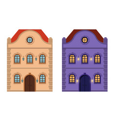 houses flat style old european building colored vector image