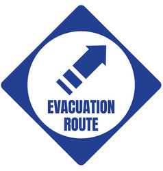 hurricane evacuation route road sign blue square vector image