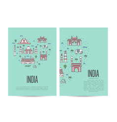 India travel tour booklet set in linear style vector