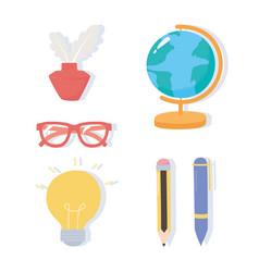 international literacy day school map ink glasses vector image