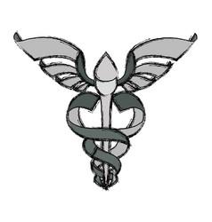 Isolated caduceus emblem vector