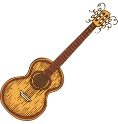 Isolated Wooden Acoustic Guitrar vector image